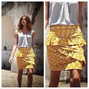 Anthropologie • Leifsdottir Polka Dot Yellow Skirt